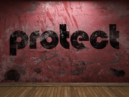 protect: protect word on red wall