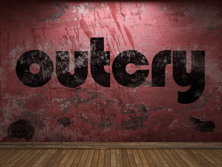 outcry: outcry word on red wall
