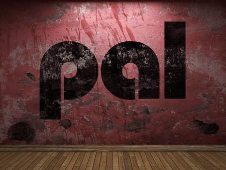 pal: pal word on red wall