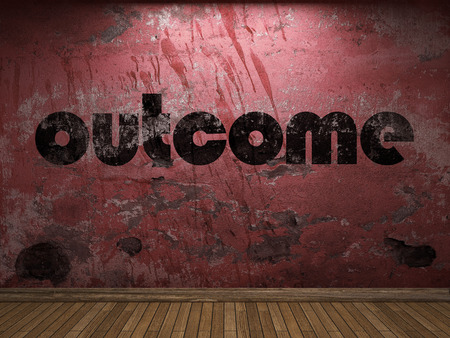 outcome: outcome word on red wall Stock Photo