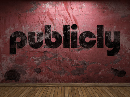 publicly: publicly word on red wall