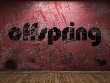 offspring: palabra descendencia en la pared roja