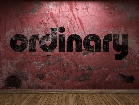 ordinary: ordinary word on red wall