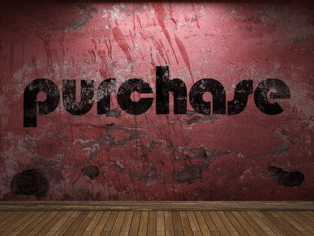 purchase: purchase word on red wall