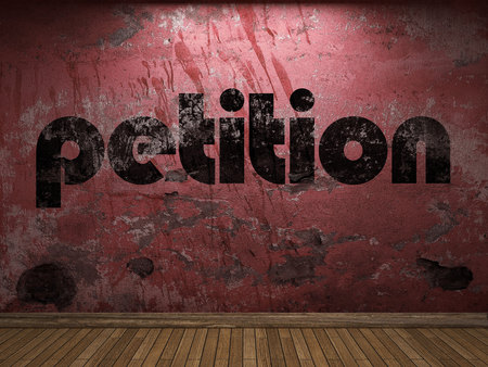 petition: petition word on red wall Stock Photo
