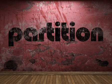 partition: partition word on red wall