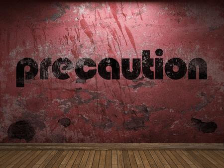 precaution: precaution word on red wall Stock Photo