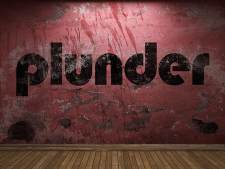 plunder: plunder word on red wall Stock Photo