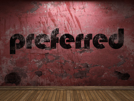 preferred: preferred word on red wall Stock Photo