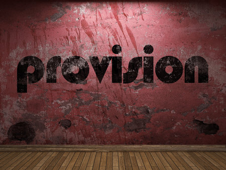 provision: provision word on red wall Stock Photo