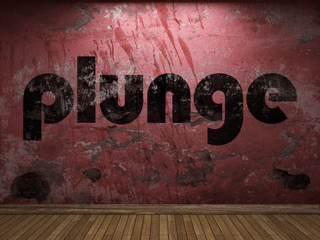 plunge: plunge word on red wall