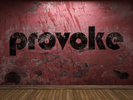 provoke: provoke word on red wall