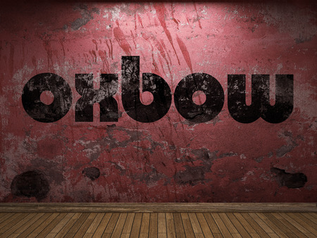 oxbow: oxbow word on red wall Stock Photo