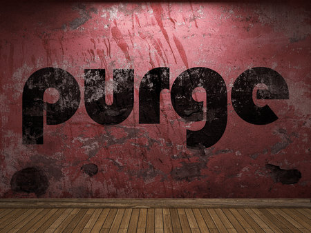 purge: purge word on red wall Stock Photo