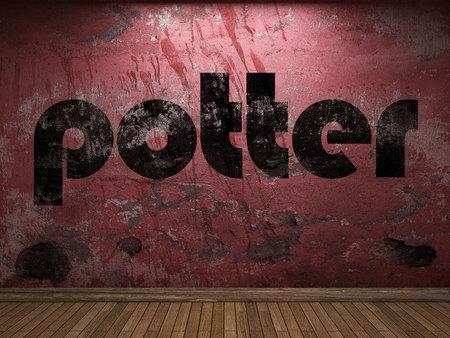 alfarero: palabra alfarero en la pared roja