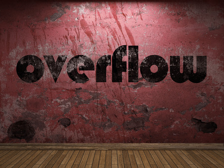 overflow: overflow word on red wall Stock Photo