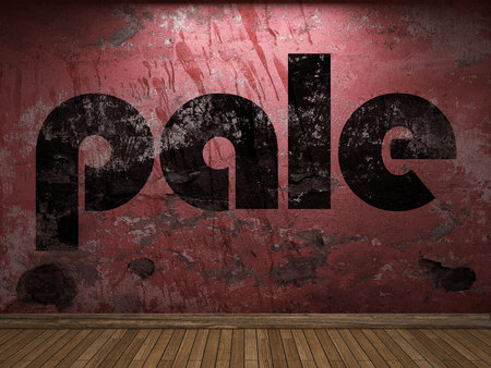 pale: pale word on red wall