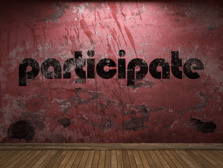 participate word on red wall Stock Photo