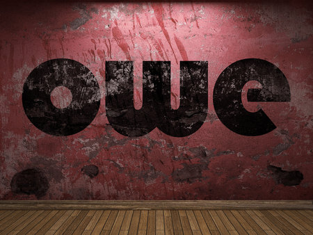 owe: owe word on red wall