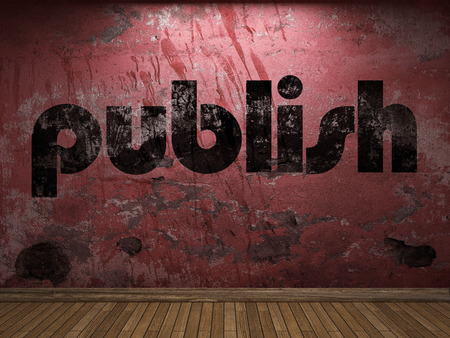publish: publish word on red wall Stock Photo