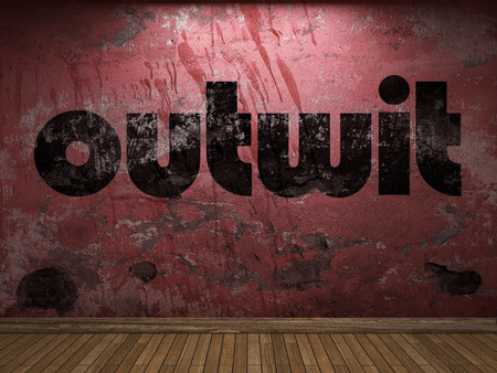 outwit: outwit word on red wall Stock Photo