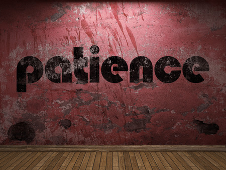 patience word on red wall