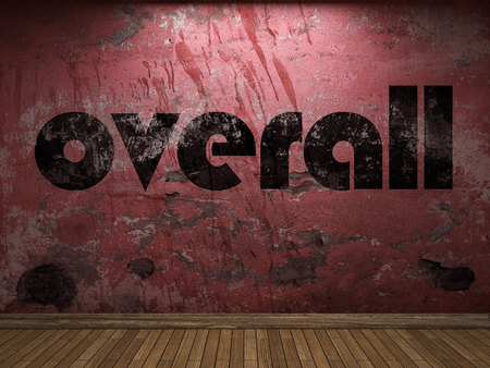 overall: overall word on red wall