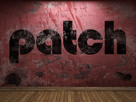 the patch: patch word on red wall Stock Photo