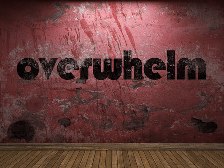overwhelm: overwhelm word on red wall Stock Photo