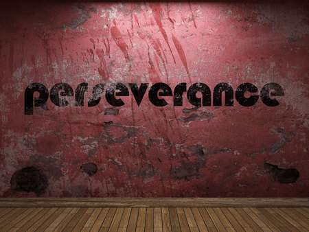 perseverance: perseverance word on red wall Stock Photo