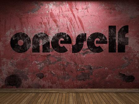 oneself: oneself word on red wall