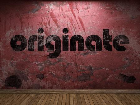 originate: originate word on red wall Stock Photo
