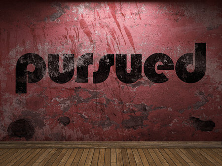 pursued: pursued word on red wall Stock Photo