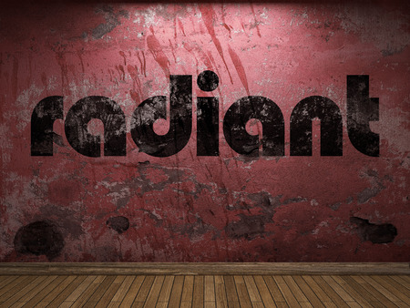 radiant: radiant word on red wall Stock Photo