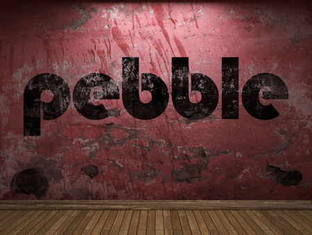 red pebble: pebble word on red wall