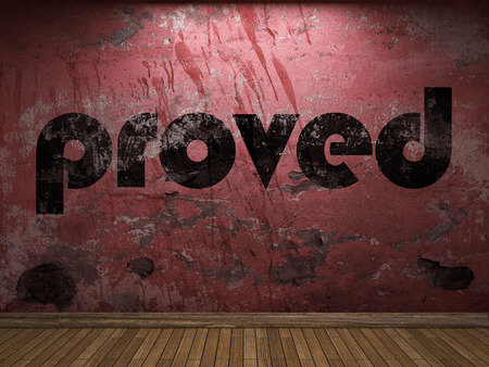 proved: proved word on red wall Stock Photo