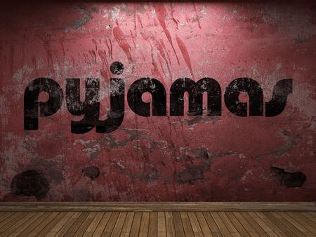 pyjamas: pyjamas word on red wall Stock Photo