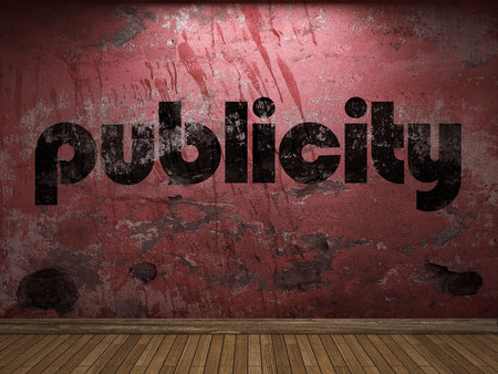publicity: publicity word on red wall