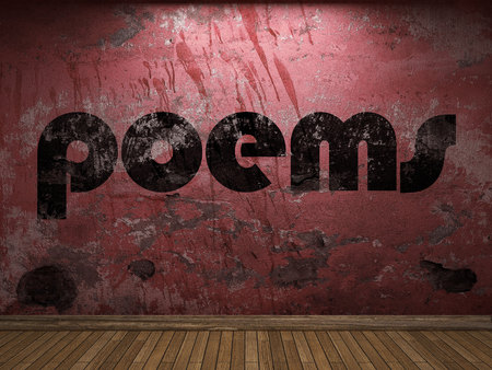 poems: poems word on red wall