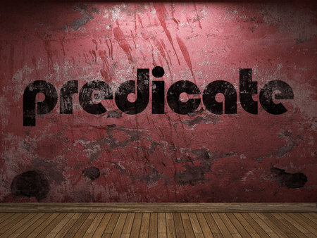 predicate word on red wall
