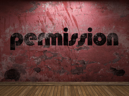 permission: permission word on red wall Stock Photo