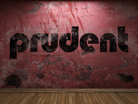 prudent: prudent word on red wall Stock Photo