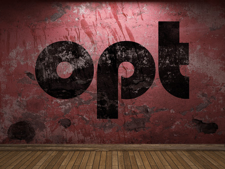 opt: opt word on red wall