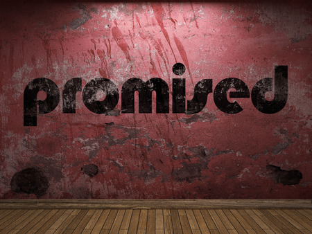 promised: promised word on red wall Stock Photo