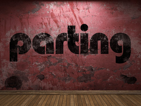 parting: parting word on red wall
