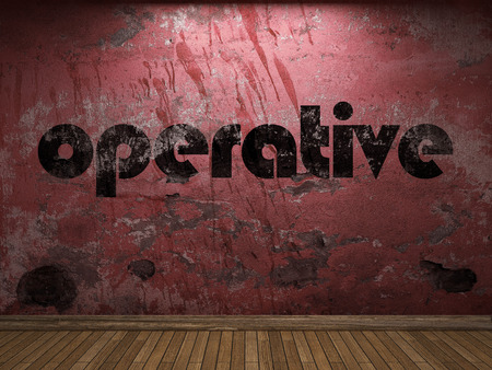 operative: operative word on red wall