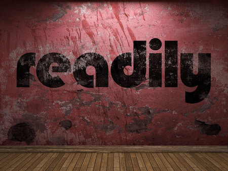 readily: readily word on red wall
