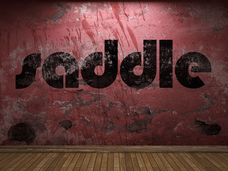 saddle: saddle word on red wall