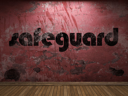 safeguard: safeguard word on red wall