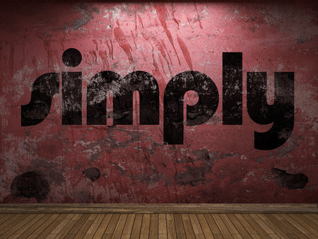 simply: simply word on red wall